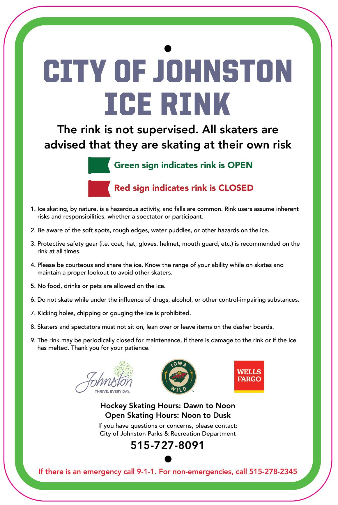 Ice Rink Rules